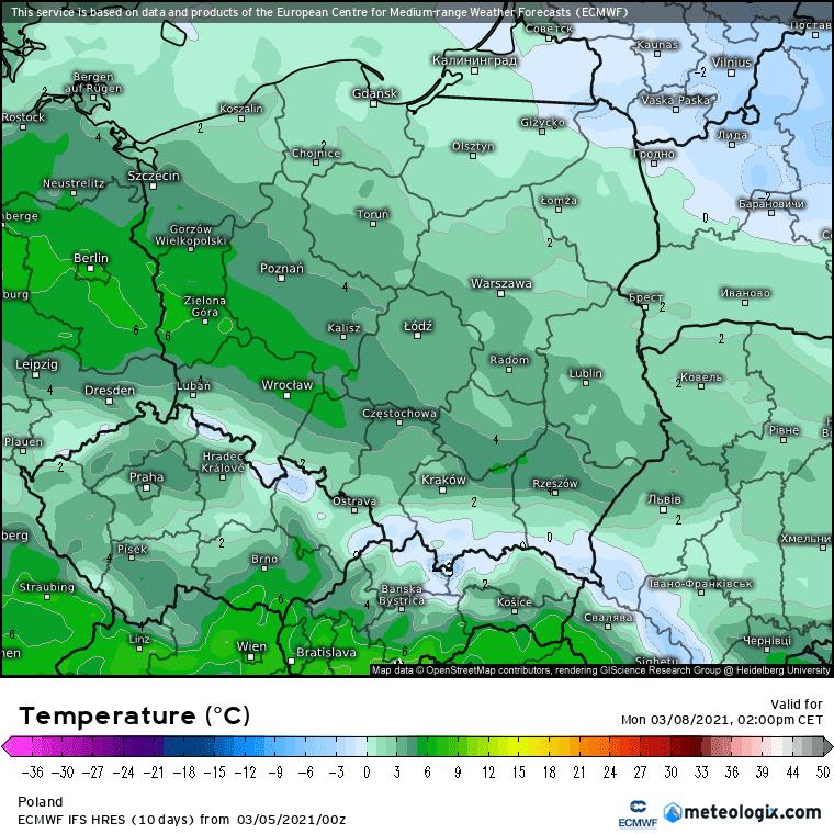 Poniedziałek temperatura w Polsce
