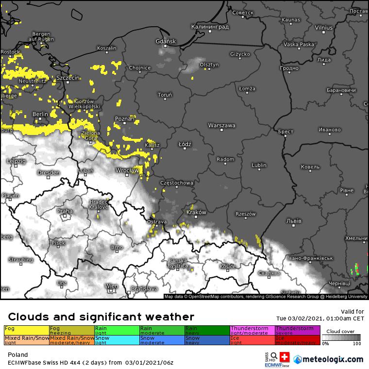 Zachmurzenie i mgły w Polsce