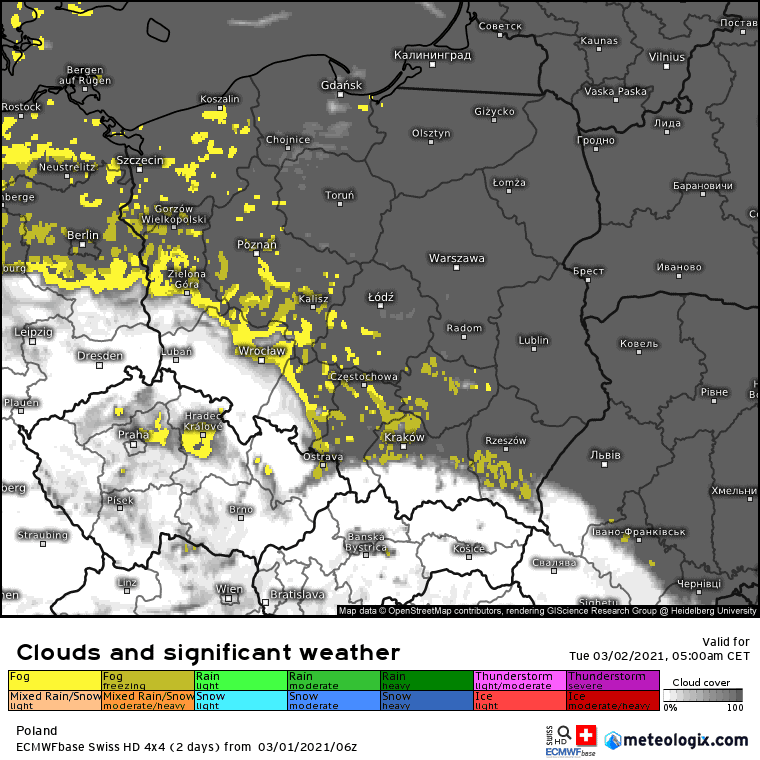 Zachmurzenie i opady na obszarze Polski.