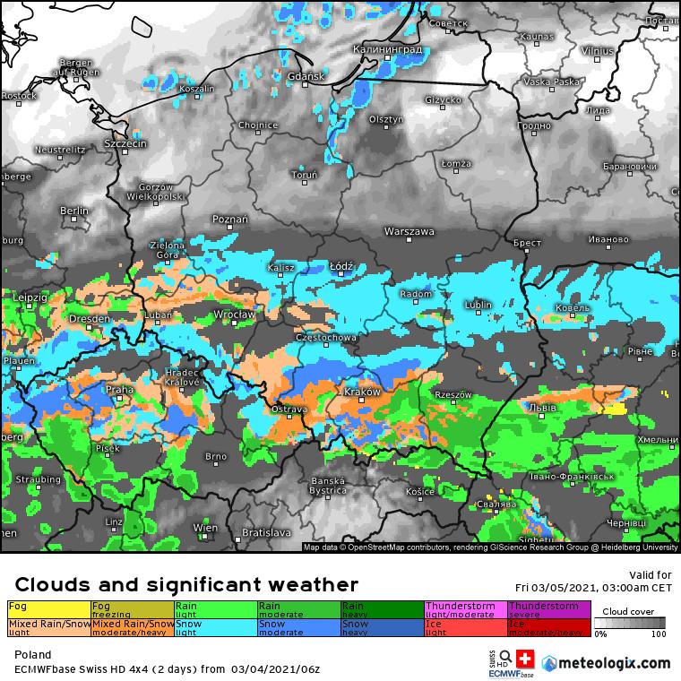 Opady i zachmurzenie w Polsce