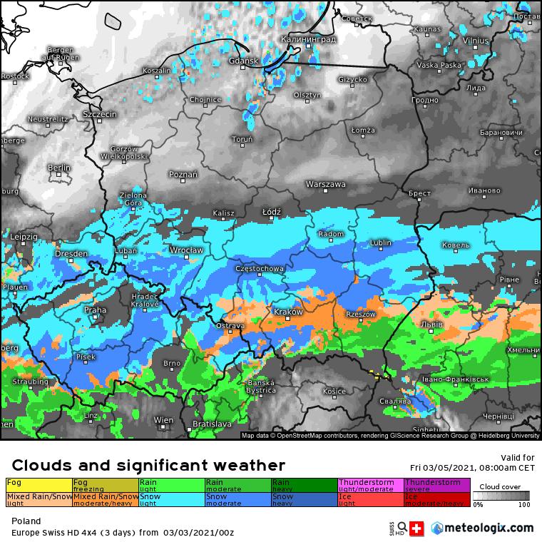 Pogoda. Opady w piątek na obszarze Polski.