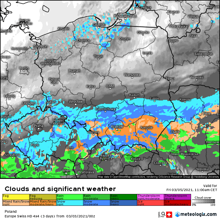 Opady w piątek na obszarze Polski