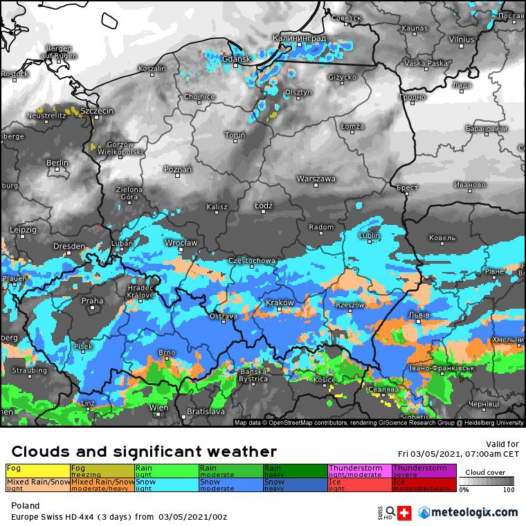 Pogoda. Zachmurzenie i opady w Polsce