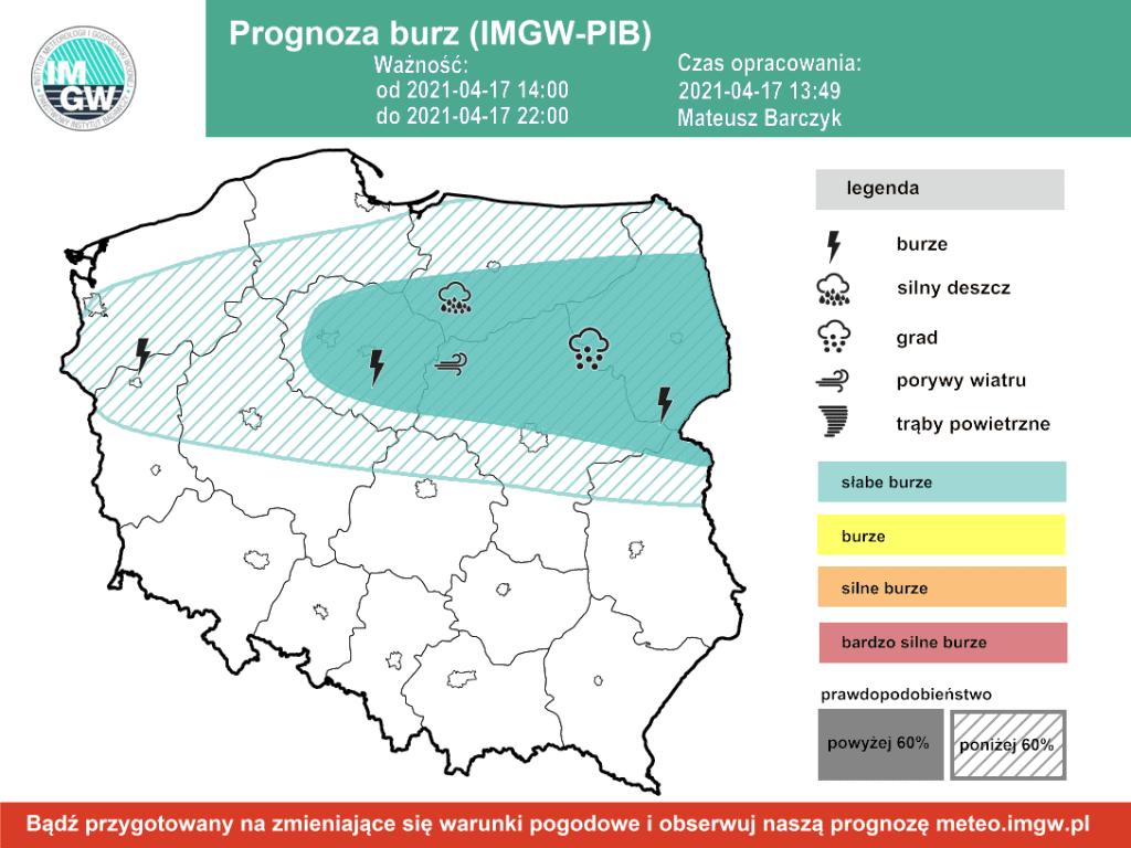 Pogoda. Burze w sobotę na obszarze Polski.