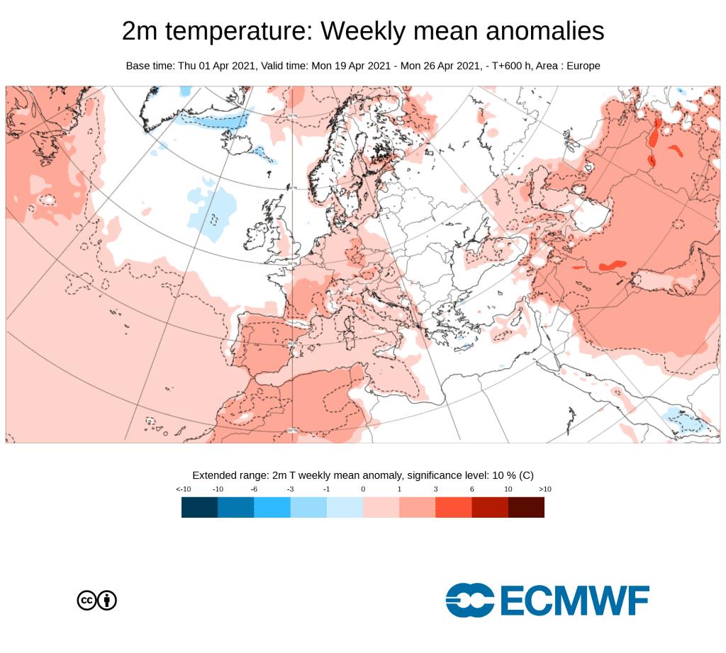 Model ECMWF na przełom 2 i 3 dekady kwietnia.