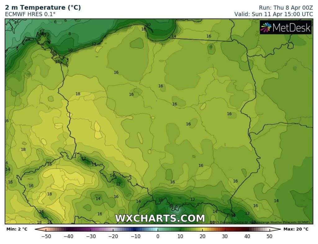 Prognozowana temperatura na niedzielę