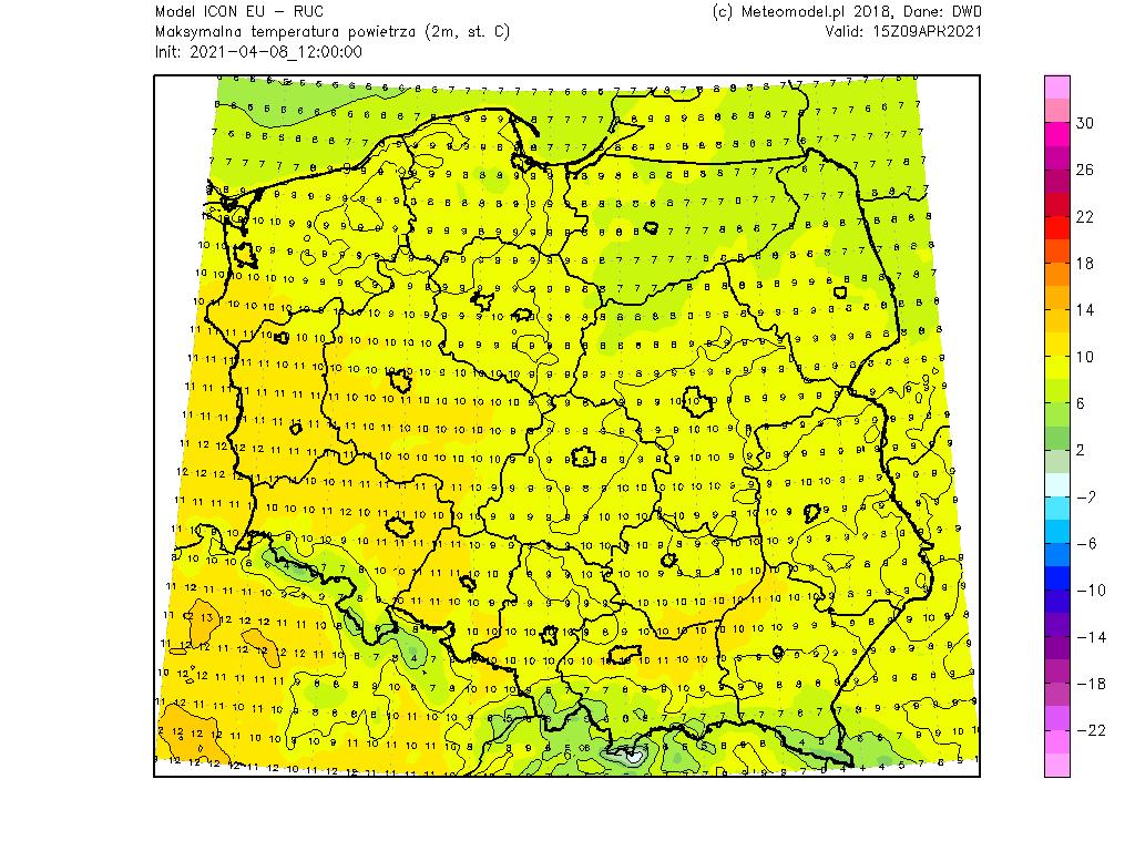 Pogoda. Temperatura w piątek na obszarze Polski.