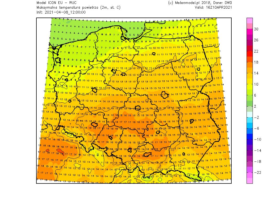 Pogoda. Temperatura maksymalna w sobotę na obszarze Polski.