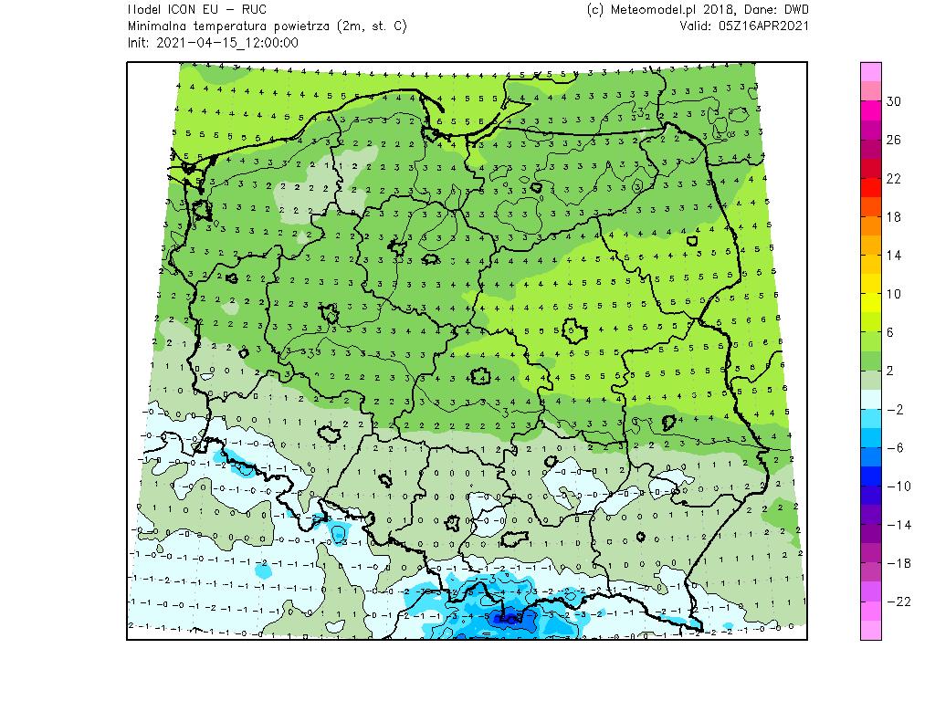 Pogoda. Minimalna temperatura powietrza na dzień 16 kwietnia 2021.