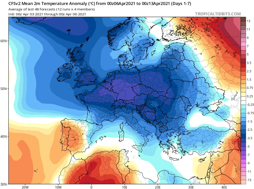 Pogoda. Anomalia temperatury w okresie od 6.04.2021 do 13.04.2021