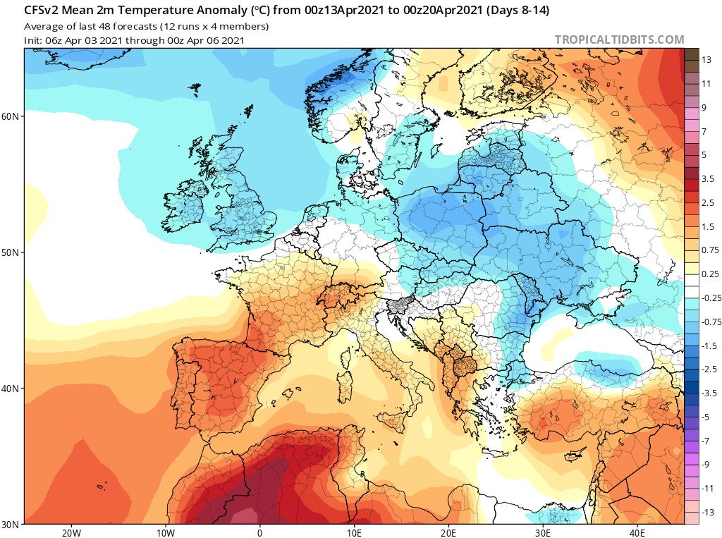 Chłodny przełom 2-3 dekady kwietnia 2021.
