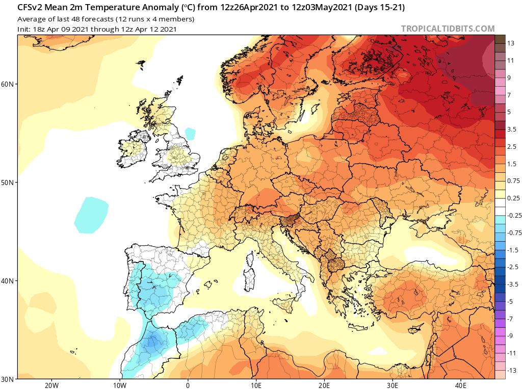 Anomalia temperatury na przełomie miesiecy