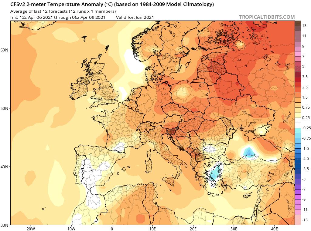 Wstępna prognoza temperatury na czerwiec 2021 dla Polski.