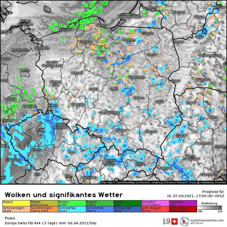 Pogoda 7 kwietnia. Dużo opadów konwekcyjnych w Polsce. Możliwe burze