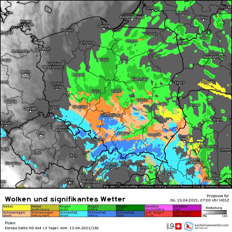 Opady śniegu na południu Polski