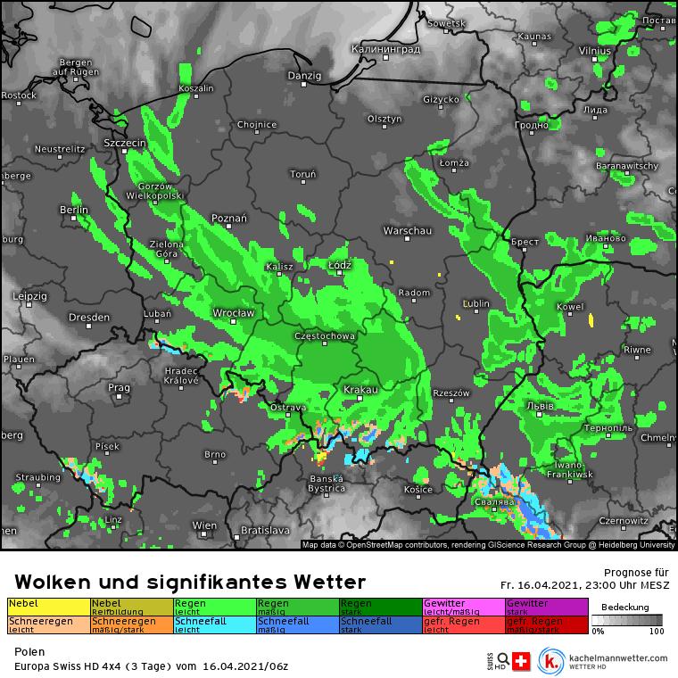 Pogoda na noc 16-17 kwietnia. Opady deszczu i śniegu nad Polską