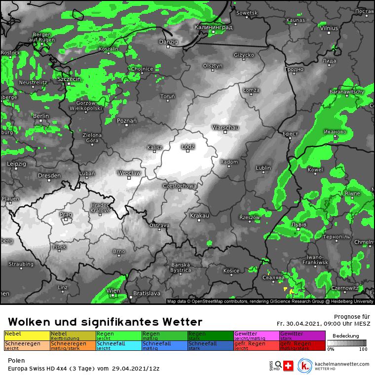 Pogoda pierwsza część piątku 30 kwietnia w Polsce.