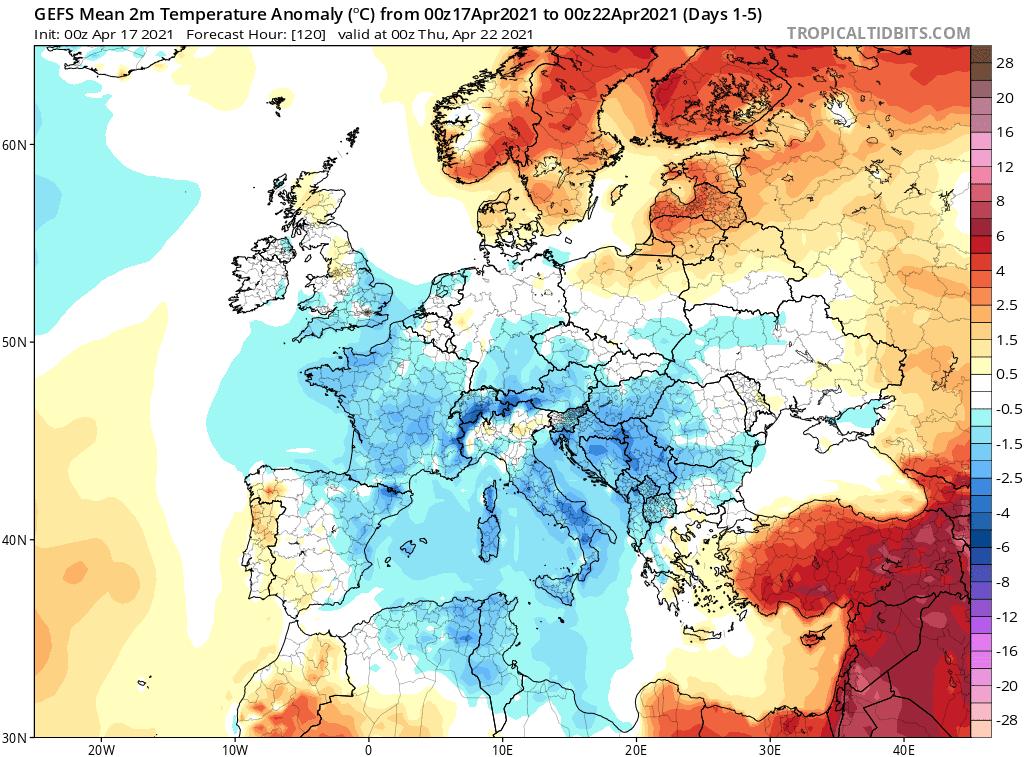 Pogoda. Anomalia temperatury w okresie od 17.04.2021 do 22.04.2021