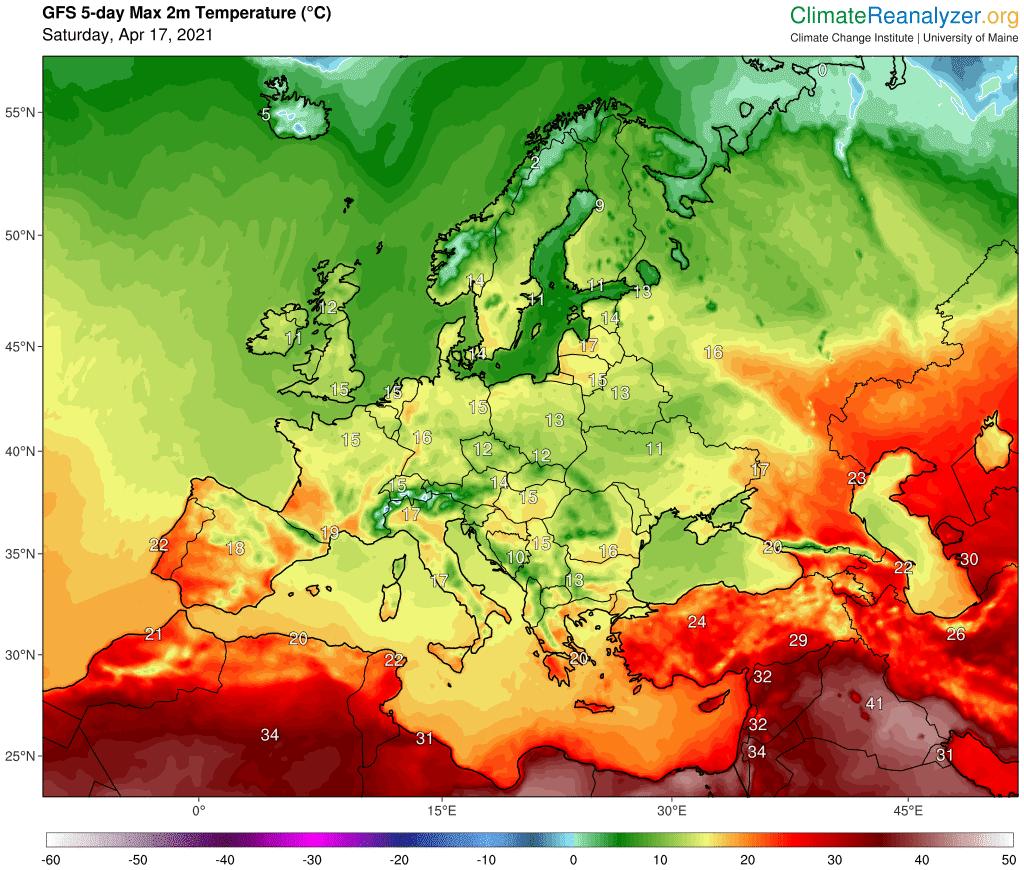 Maksymalna temperatura w Europie
