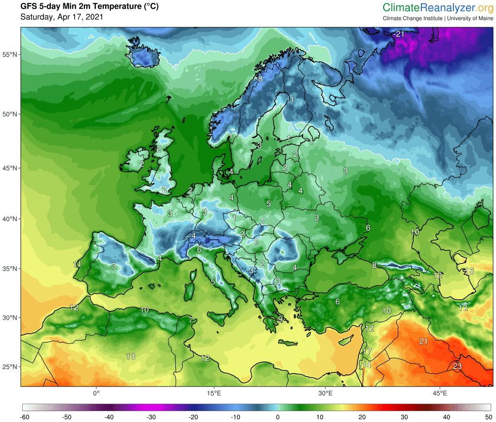Minimalna temperatura w Europie