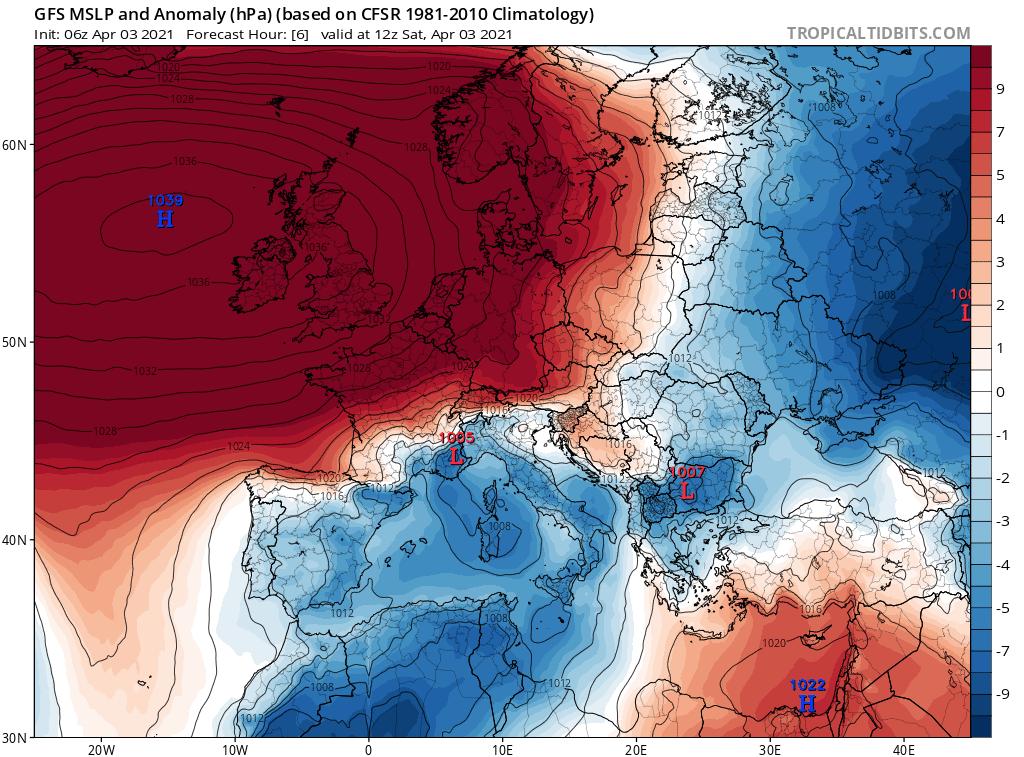 Pogoda. Anomalia w polu ciśnienia na dzień 3 kwietnia 2021.