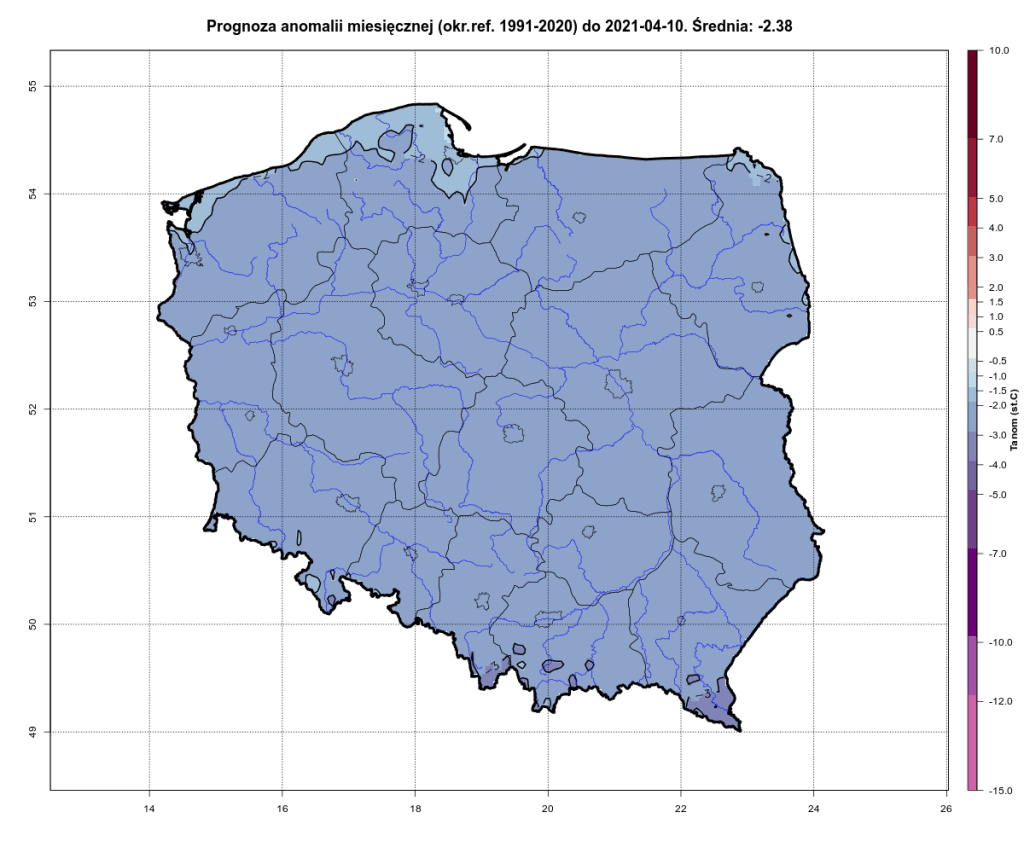 Prognoza anomalii miesięcznej na okres od 1991-2020.