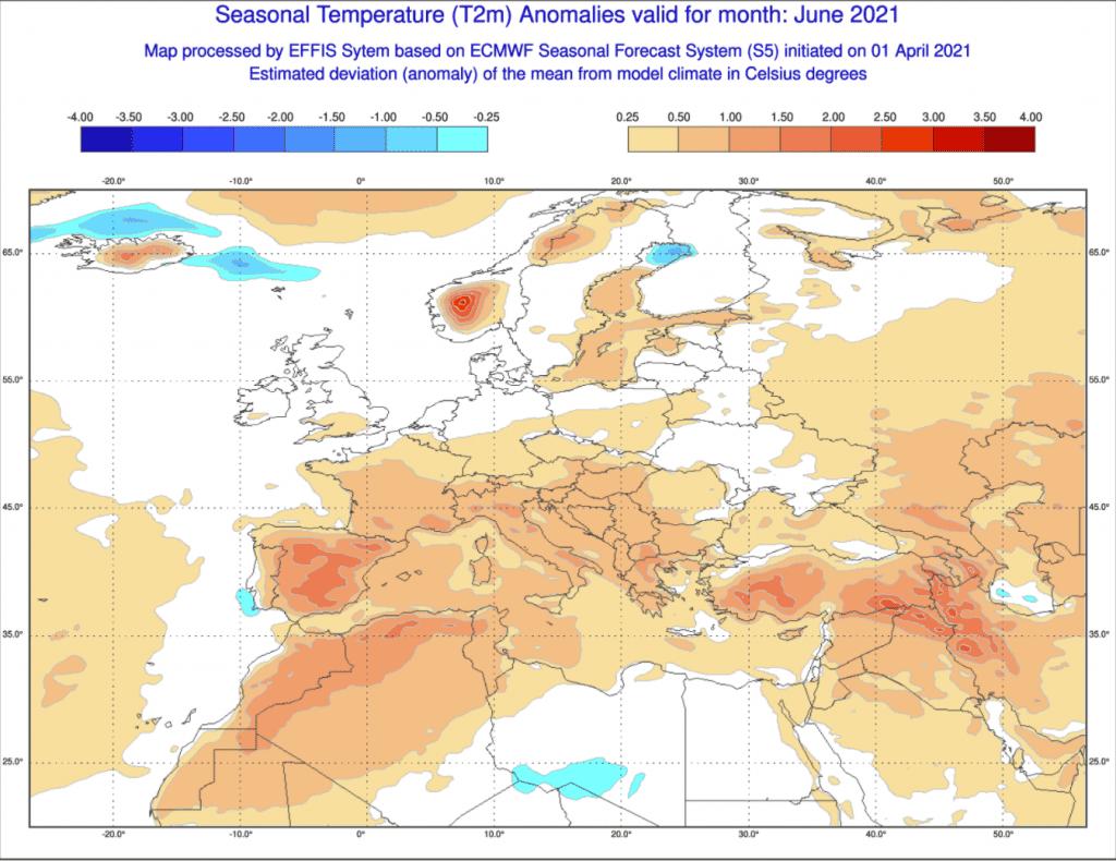 Pogoda. Prognoza na czerwiec ECMWF.