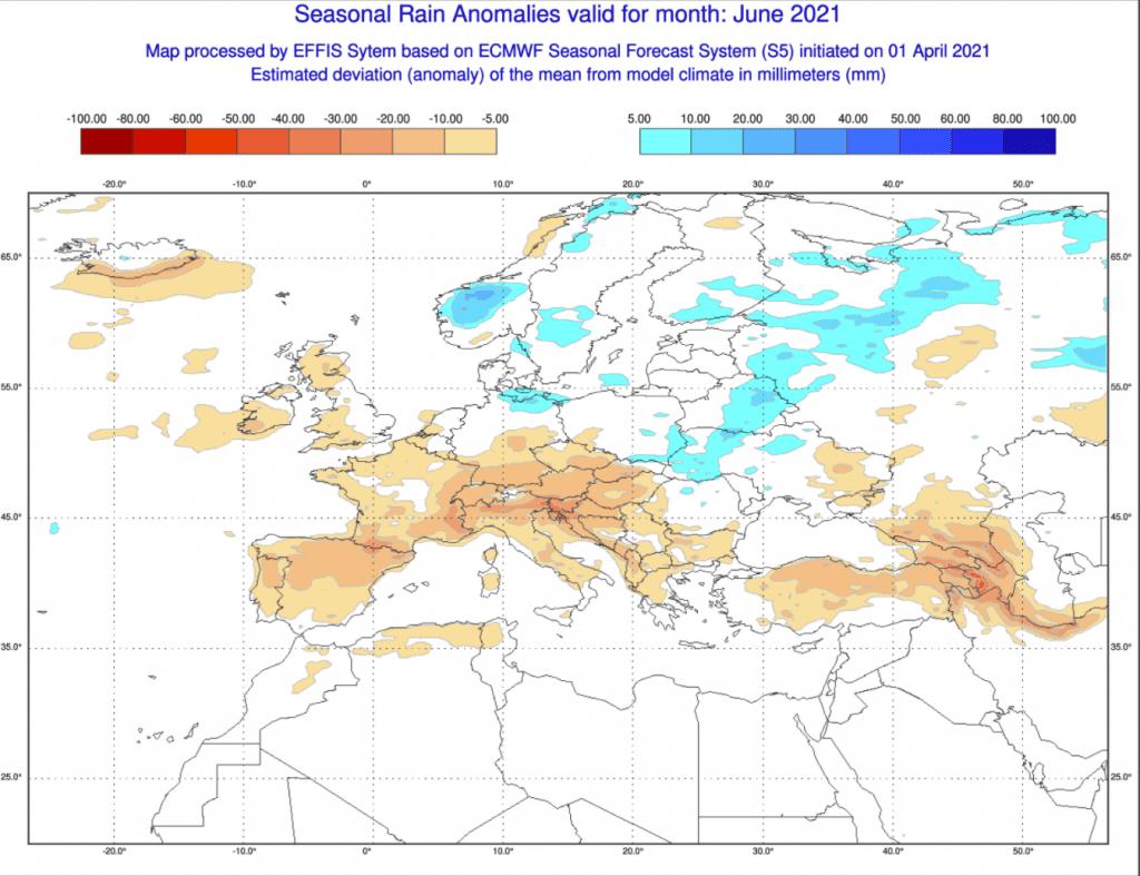 Pogoda. Anomalia opadów czerwiec 2021.
