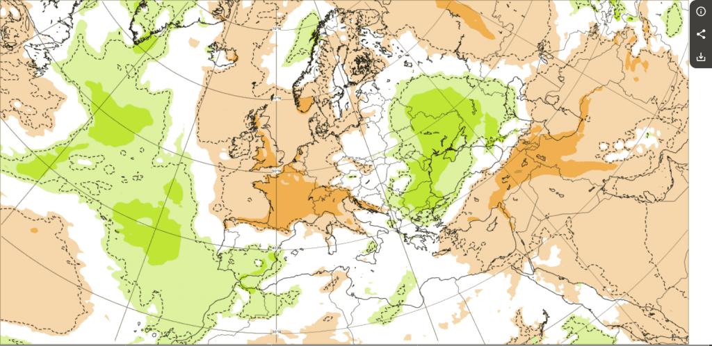 ECMWF, prognoza anomalii opadów.