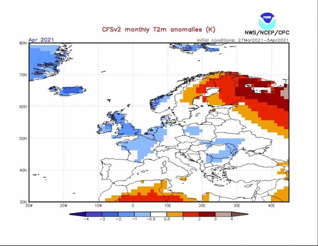 Pogoda. CFS i trend w pogodzie na kwiecień 2021.