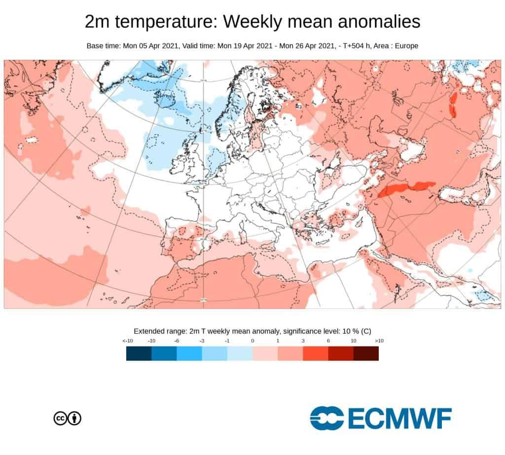 Pogoda. Anomalia temperatury na okres od 19.04.2021 do 26.04.2021.