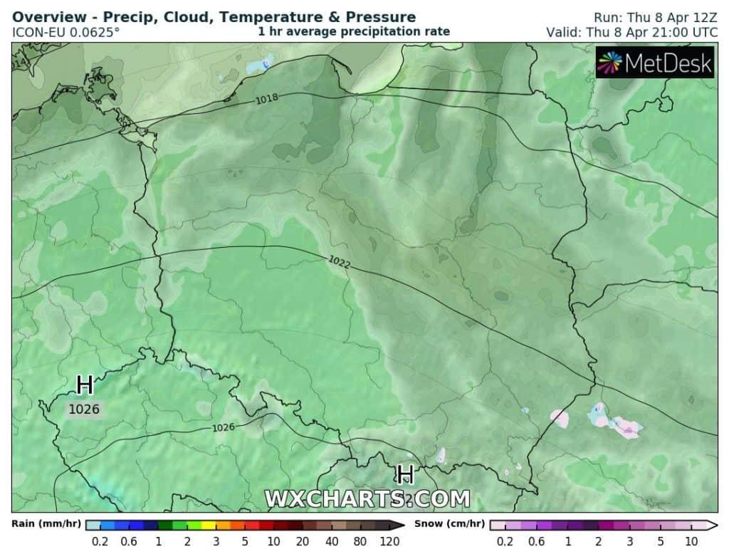 Zachmurzenie i opady w Polsce