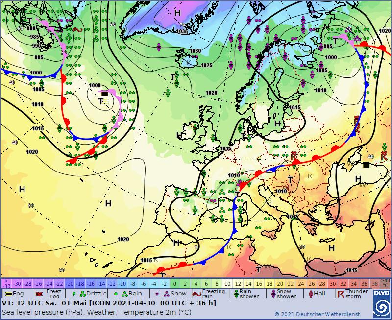 Pogoda na sobotę 1 maja. Sytuacja baryczna nad Europą.