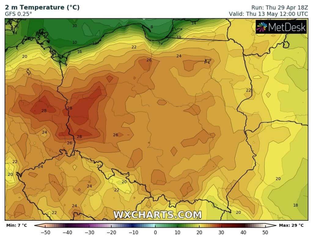 Blisko upału w Polsce 13 maja.