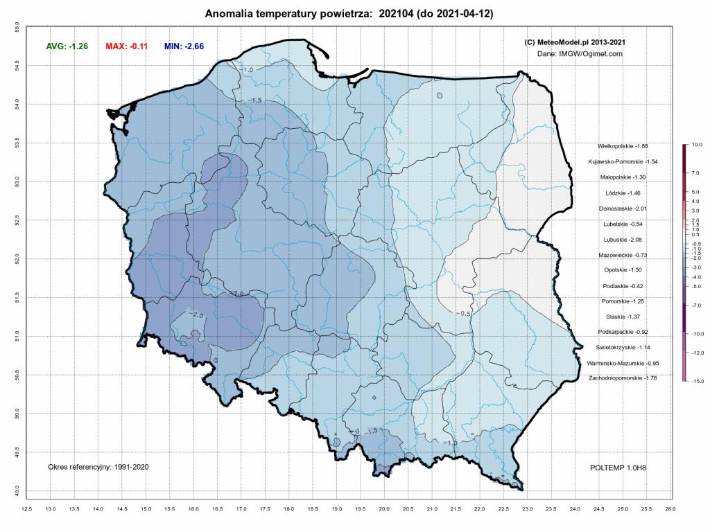 Pogoda. Anomalia temperatury za okres od 1.04.2021 do 12.04.2021 według modeli numerycznych.