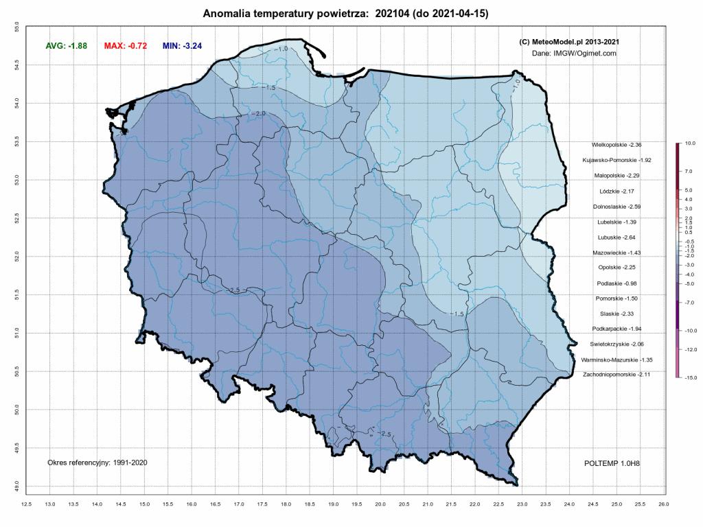 Pogoda. Anomalia temperatury do 15 kwietnia 2021.