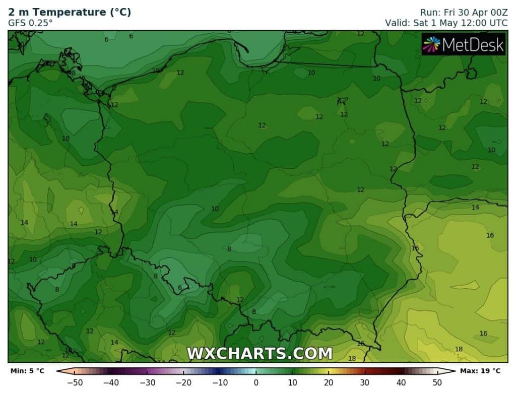 Temperatura w Polsce 1 maja 2021