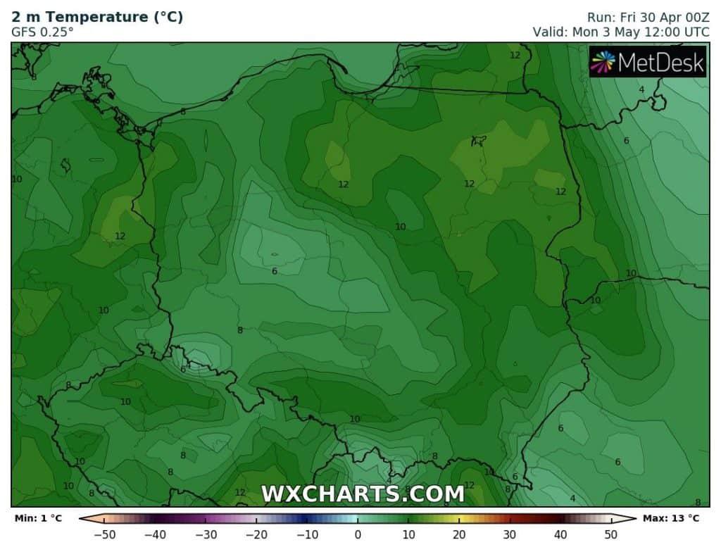 Temperatura 3 maja w Polsce