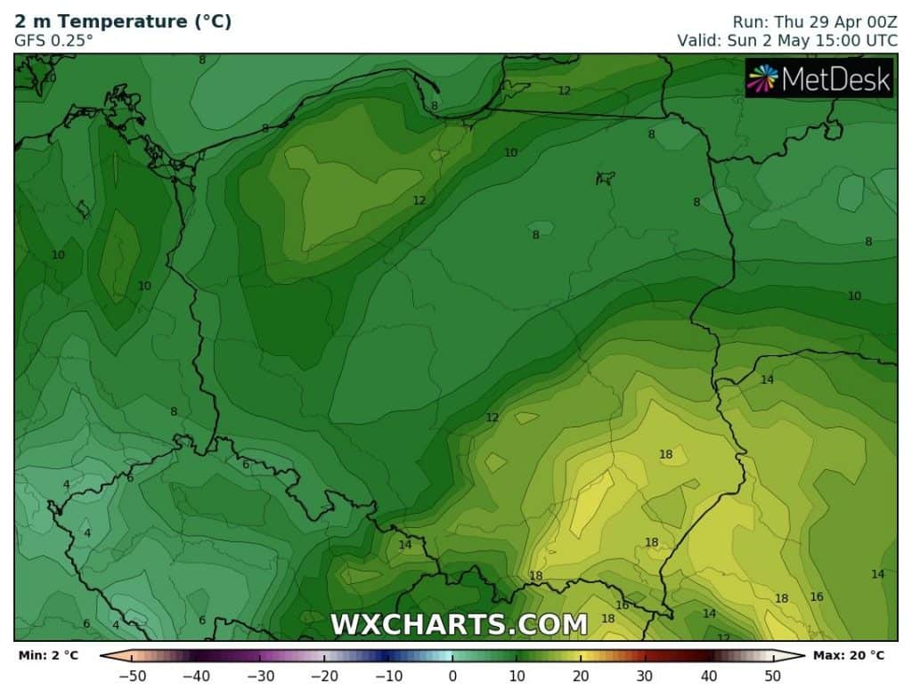 Temperatura w Polsce 2 maja