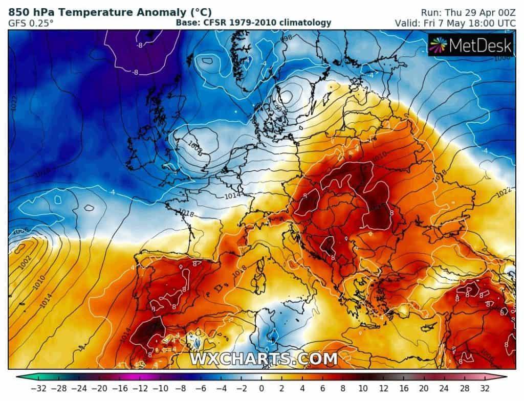 Wysoka anomalia temperatury nad Polską 7-8 maja.