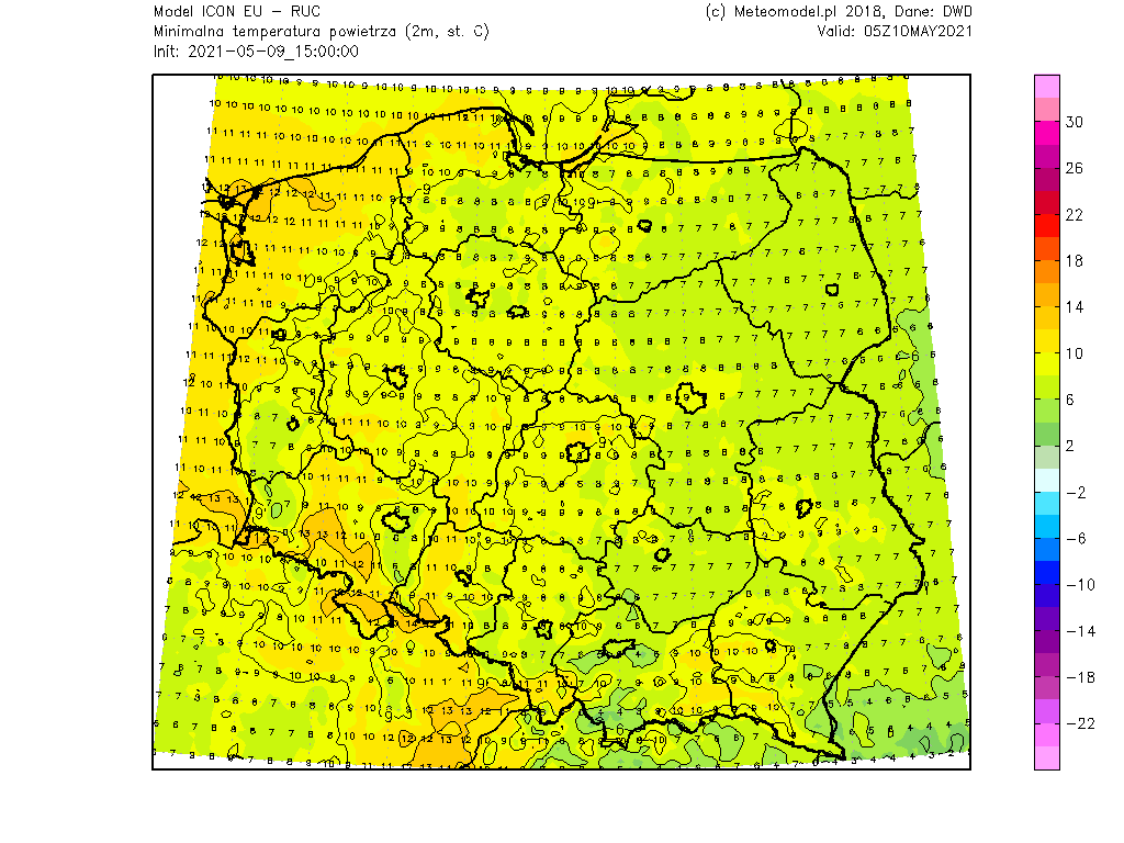 Pogoda. Temperatura poniedziałek rano