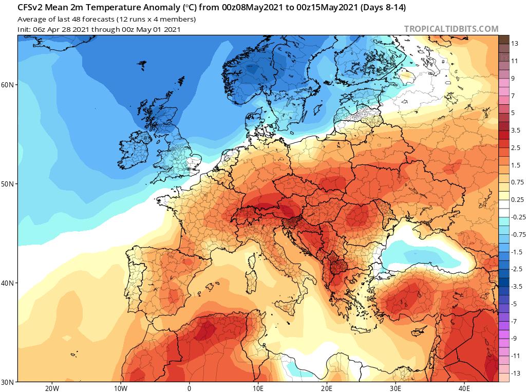 Pogoda. Anomalia temperatury na okres od 8.05.2021 do 15.05.2021