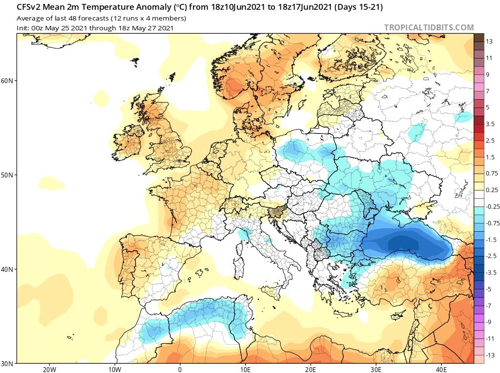 Pogoda. Anomalia temperatury do 17 czerwca 2021 według CFS