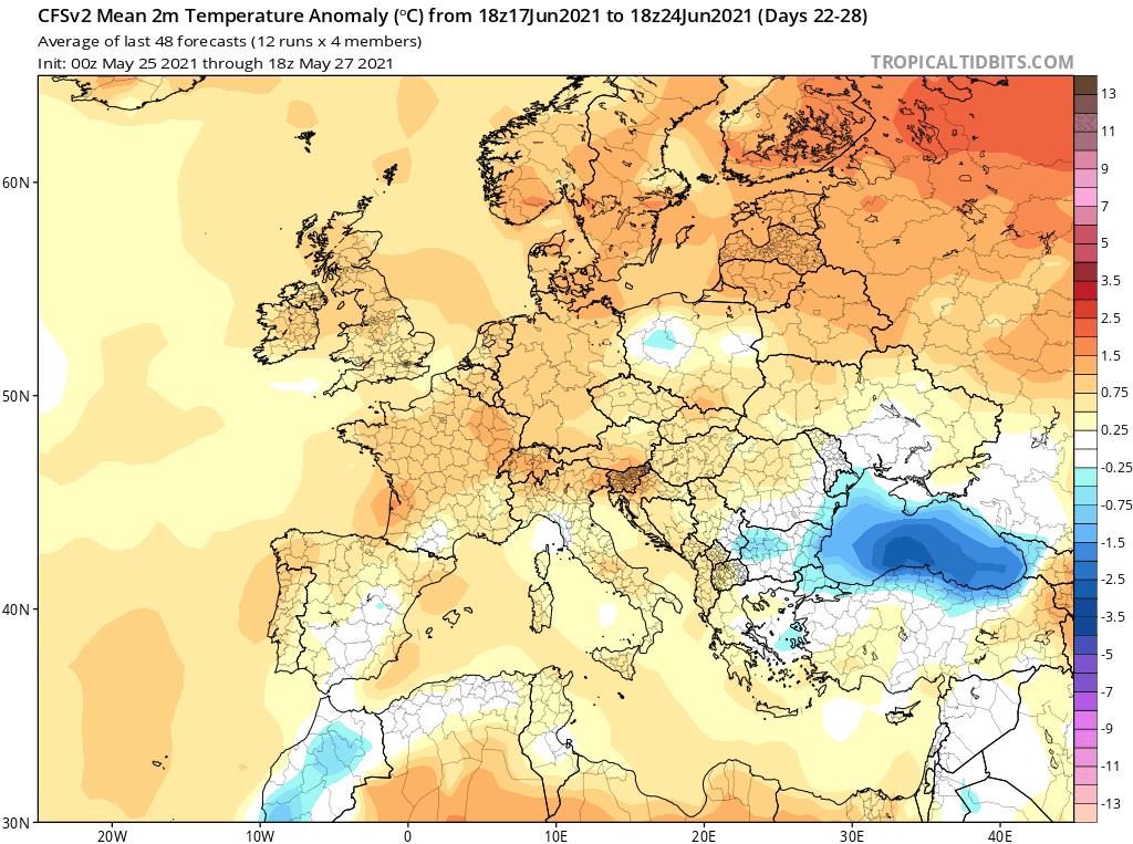 Pogoda. Anomalia temperatury do 24 czerwca 2021.