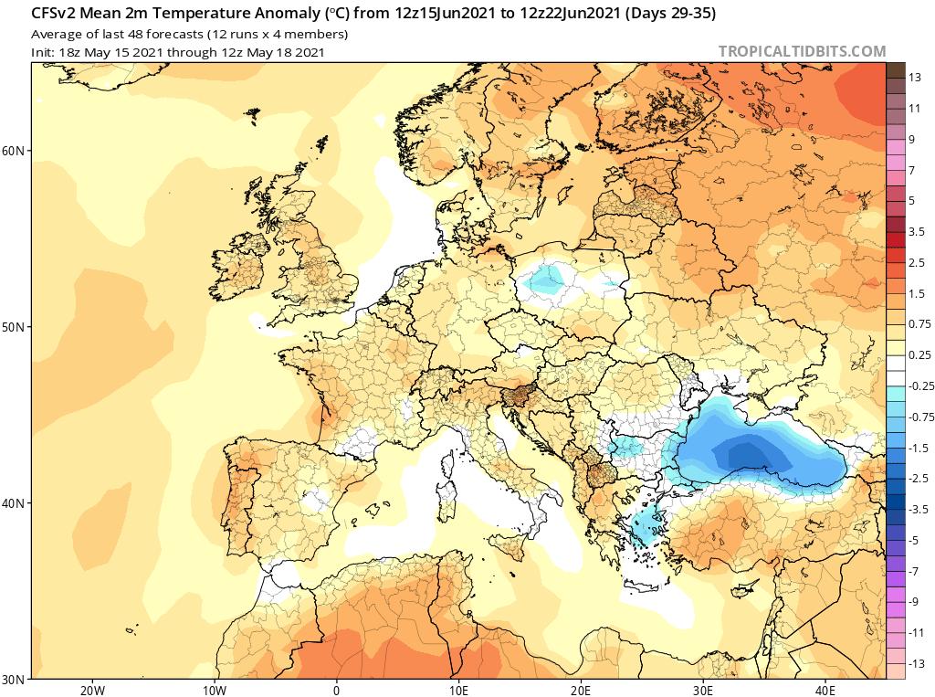 Pogoda. Anomalia temperatury do 22 czerwca 2021.