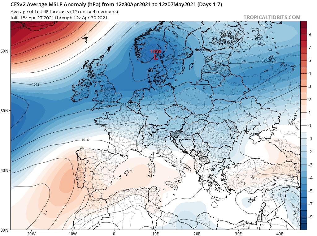 Pogoda na początku maja 2021. Pole  ciśnienia