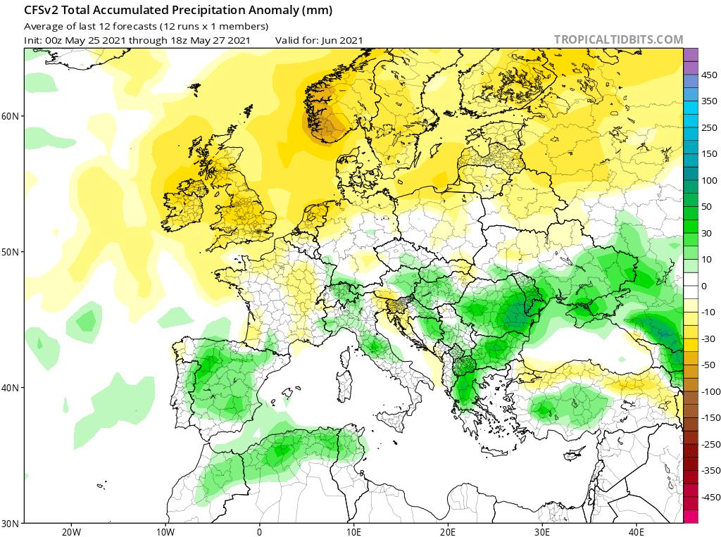 Pogoda. Opady w kraju, czerwiec 2021 Polska i Europa.