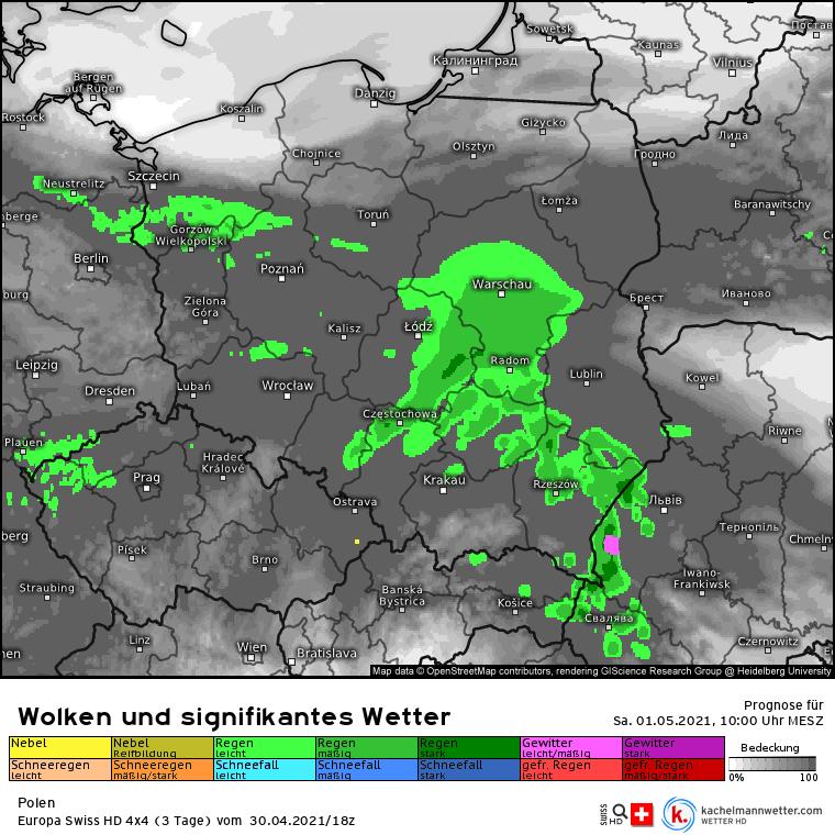 Pogoda 1 maja nad Polską. Opady deszczu