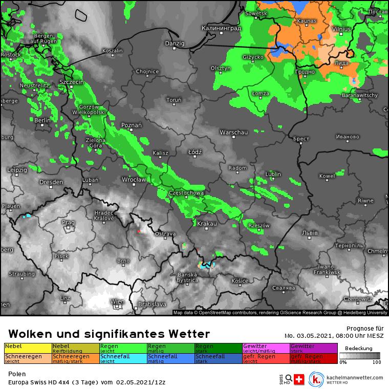 Pogoda 3 maja w Polsce. Opady deszczu z rana