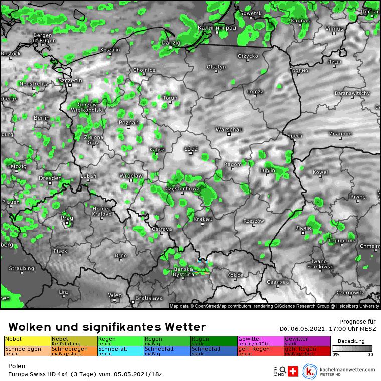 Pogoda na czwartek 6 maja. Opady nad Polską po południu